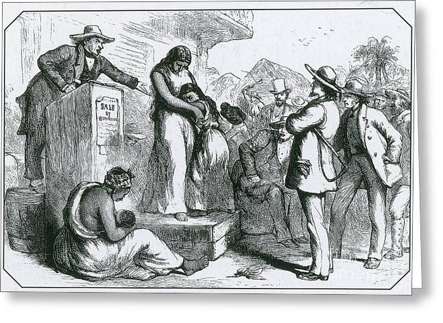 Owner Greeting Cards - Slave Auction Greeting Card by Photo Researchers