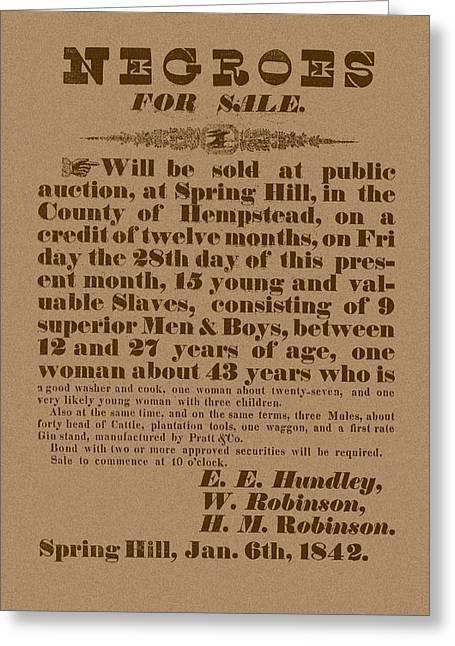 Slave Auction Greeting Card by War Is Hell Store