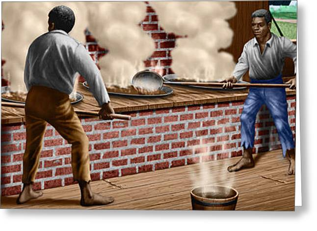 Slavery Greeting Cards - Slaves refining Sugar Cane jamaica train historical old south americana life  Greeting Card by Walt Curlee