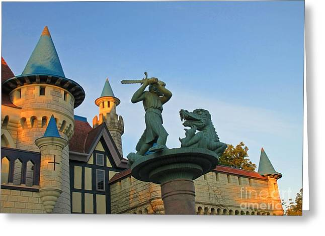 Fantasy Sculptures Greeting Cards - Slaying the Dragon Greeting Card by John Malone