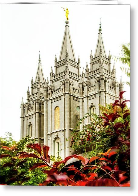 Salt Greeting Cards - SLC Temple Angle Greeting Card by La Rae  Roberts