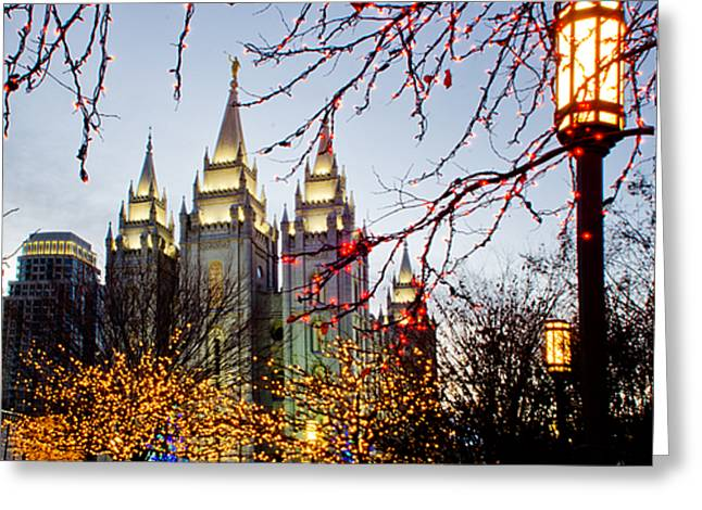 SLC Temple Lights lamp Greeting Card by La Rae  Roberts