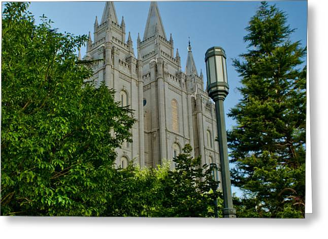 SLC Temple Walk Greeting Card by La Rae  Roberts