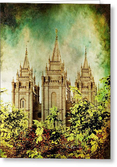 Salt Lake City Temple Greeting Cards - SLC Vintage Green Greeting Card by La Rae  Roberts