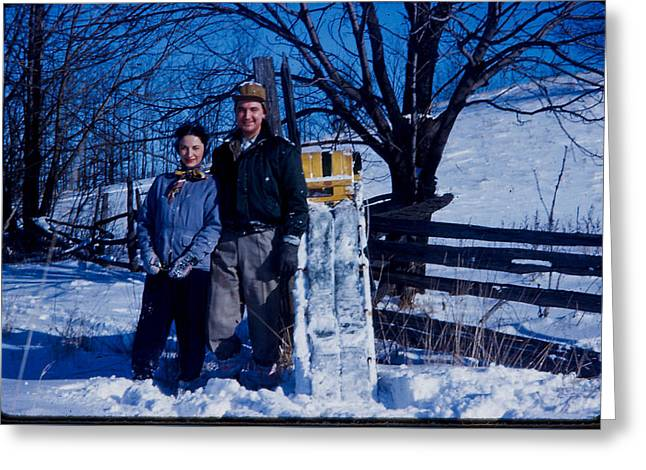 Sledding 1958 Vintage Photo Greeting Card by Sharon French
