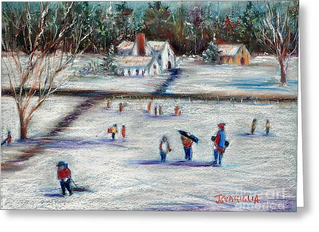 Snow Scene Landscape Pastels Greeting Cards - Sledding Greeting Card by Joyce A Guariglia