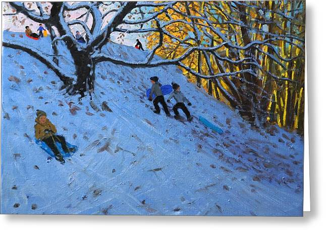 Sledger Greeting Cards - Sledging Allestree Golf course Greeting Card by Andrew Macara