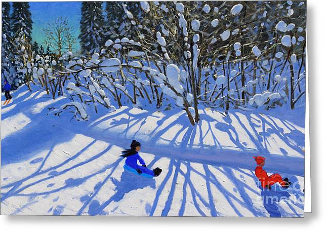 Skiing Christmas Cards Greeting Cards - Sledging and skiing down the trail Greeting Card by Andrew Macara