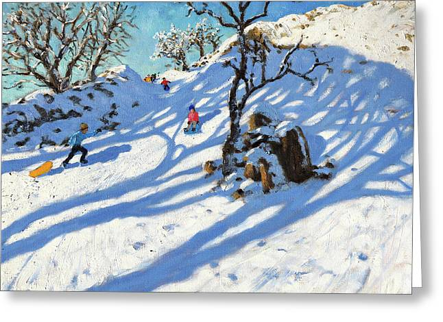 Sledging, Glutton Bridge, Buxton, Derbyshire Greeting Card by Andrew Macara