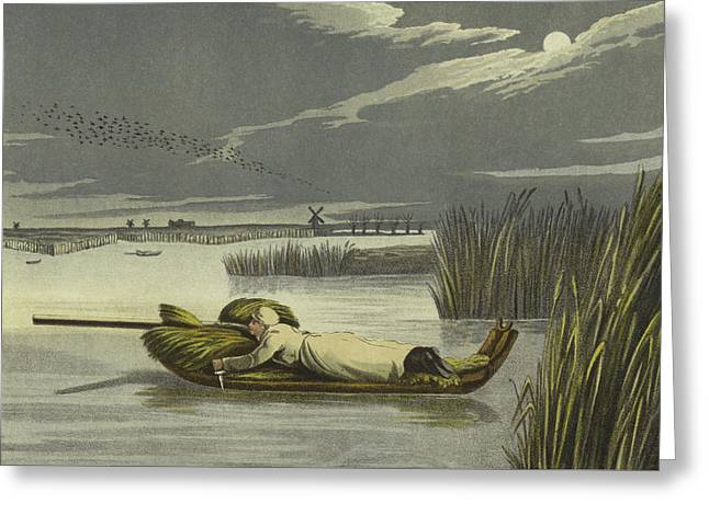 Sledging Greeting Card by Henry Thomas Alken
