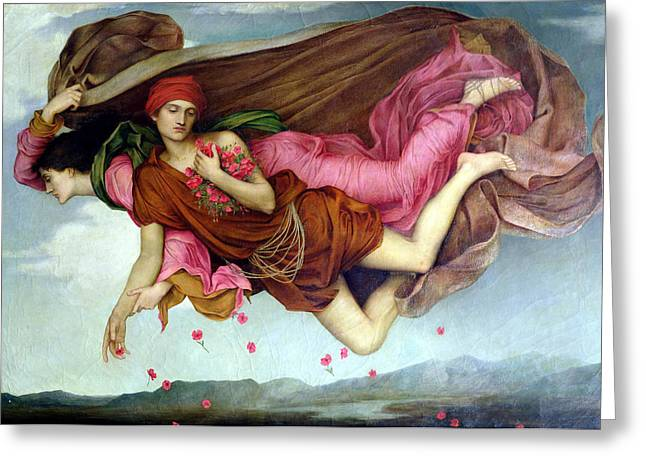 Night Angel Greeting Cards - Sleep And Night Greeting Card by Evelyn de Morgan