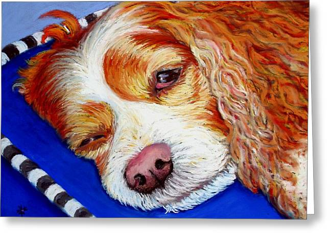 Spaniel Pastels Greeting Cards - Sleep Over Greeting Card by Minaz Jantz