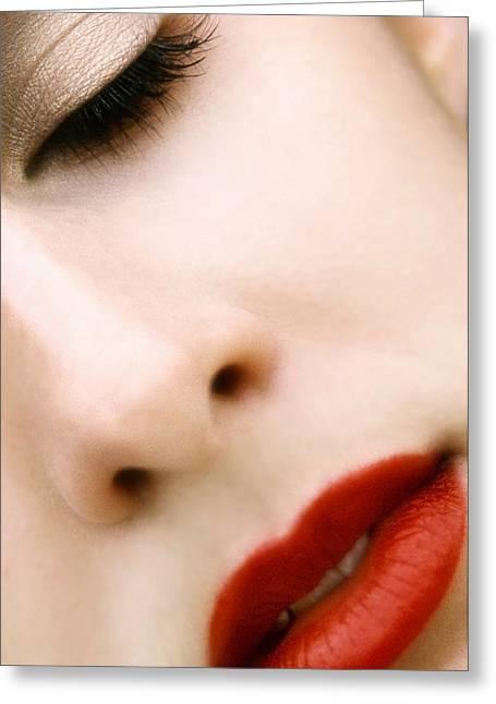 Red Lips Greeting Cards - Sleep Greeting Card by Skip Hunt