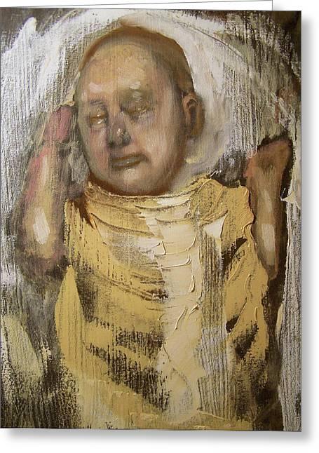 Sleeping Baby In Golden Cloth Greeting Card by Derek Van Derven