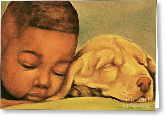 Artist Curtis James Art Pastels Greeting Cards - Sleeping Beauties Greeting Card by Curtis James