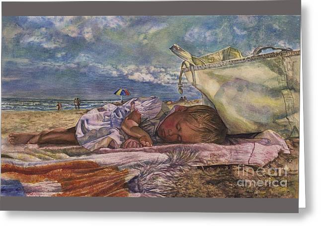 On The Beach Greeting Cards - Sleeping Beauty Greeting Card by Cynthia Pride