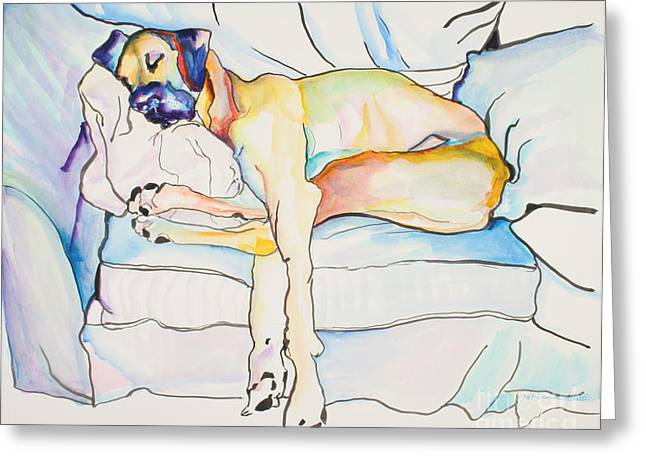 Dog Artists Greeting Cards - Sleeping Beauty Greeting Card by Pat Saunders-White