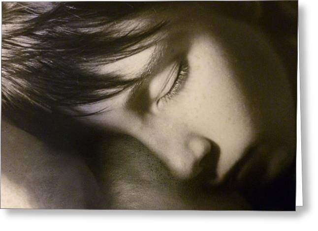 Black Sculptures Greeting Cards - Sleeping Child Greeting Card by Janet  Lipp