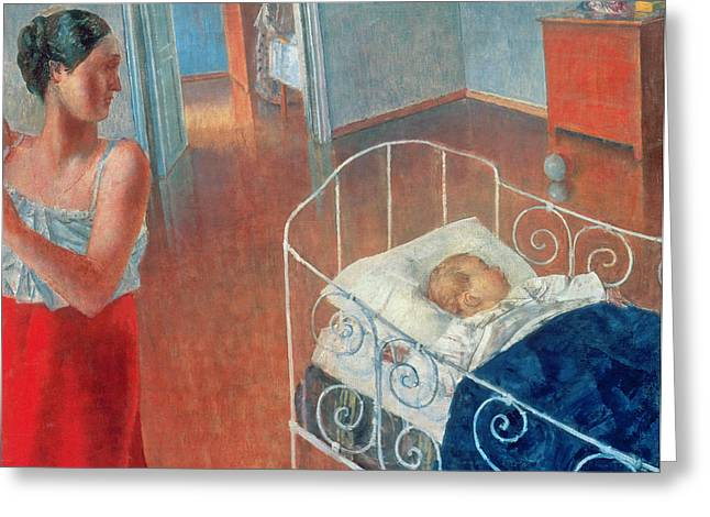 Caring Mother Greeting Cards - Sleeping Child Greeting Card by Kuzma Sergeevich Petrov Vodkin