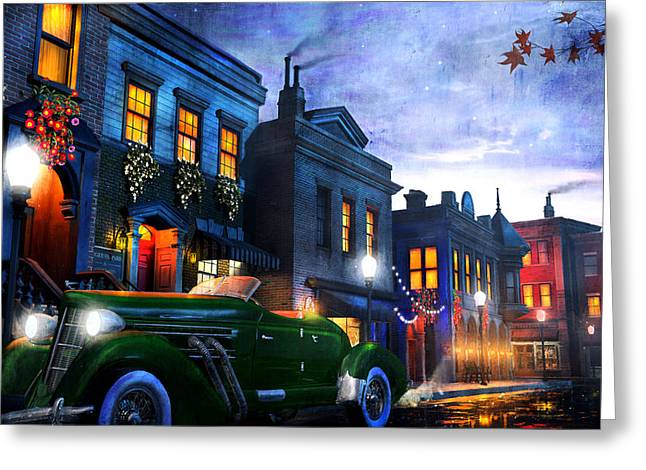 Glowing Mixed Media Greeting Cards - Sleeping City Greeting Card by Joel Payne