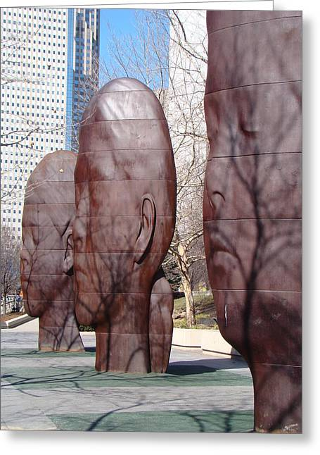 Chicago Sculptures Greeting Cards - Sleeping Faces and Shadows Greeting Card by Mea