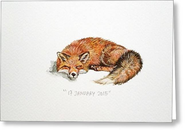 Red Fox Greeting Cards - Sleeping fox Greeting Card by Venie Tee