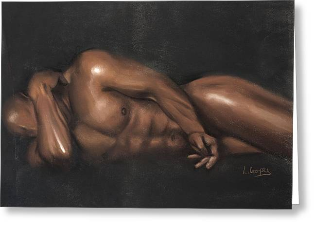 Figure Study Pastels Greeting Cards - Sleeping Nude Greeting Card by L Cooper