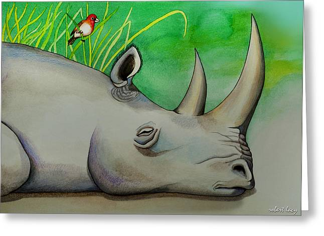 Rhinoceros Greeting Cards - Sleeping Rino Greeting Card by Robert Lacy