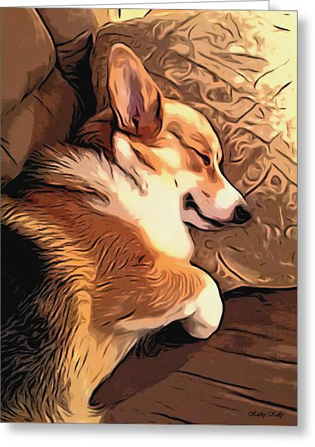 Dog On Couch Greeting Cards - Sleeping Welsh Corgi on Pillow Greeting Card by Kathy Kelly