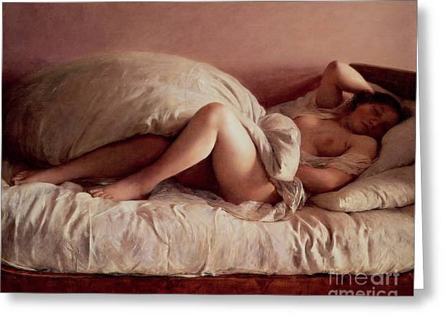 Chest Paintings Greeting Cards - Sleeping woman Greeting Card by Johann Baptist Reiter
