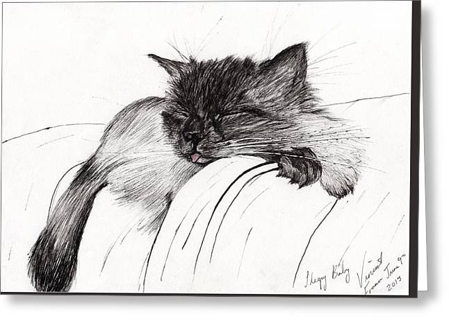 Cats Drawings Greeting Cards - Sleepy Baby Greeting Card by Vincent Alexander Booth