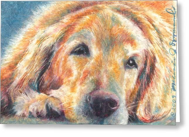 Golden Brown Drawings Greeting Cards - Sleepy Dog Greeting Card by Melissa J Szymanski