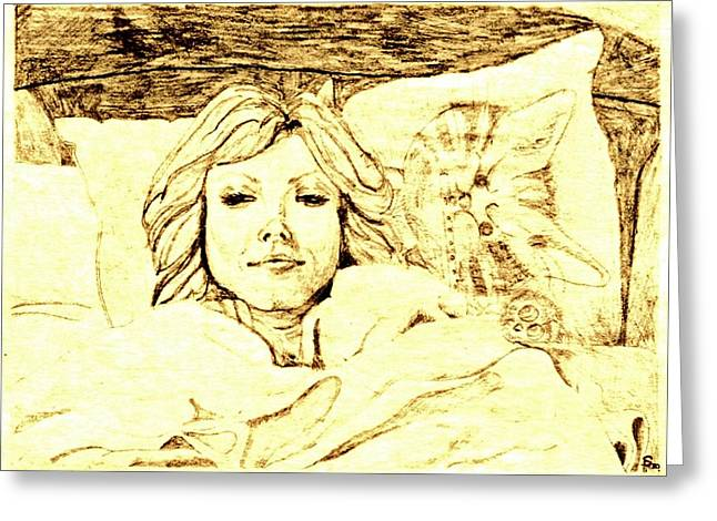 Cleft Chin Greeting Cards - Sleepy Girl Friend on a Cat Pillow Greeting Card by Sheri Parris