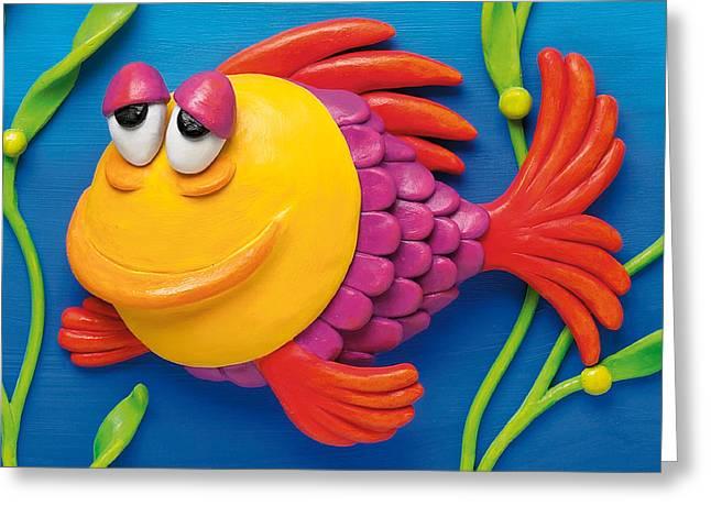 Aquarium Fish Mixed Media Greeting Cards - Sleepy Grouper Greeting Card by Amy Vangsgard