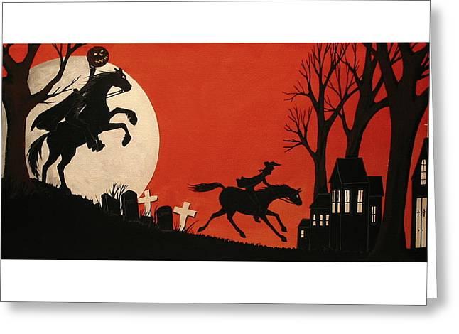 Ichabod Crane Greeting Cards - Sleepy Hollow - artist folkartmama Greeting Card by Debbie Criswell