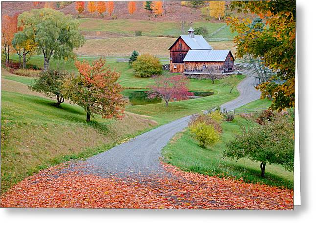Ly Greeting Cards - Sleepy Hollow Farm Autumn Vermont Greeting Card by Binh Ly
