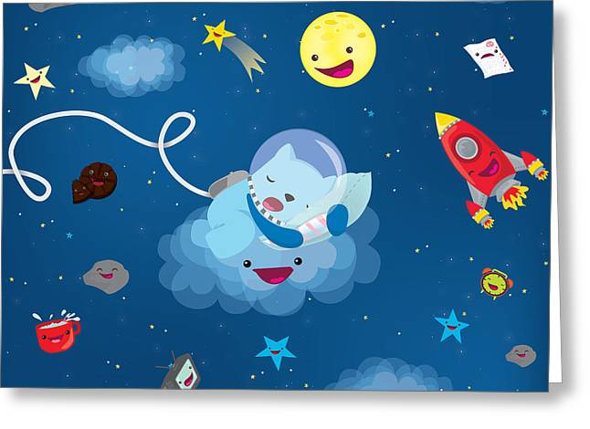 Planet Greeting Cards - Sleepy in space Greeting Card by Seedys