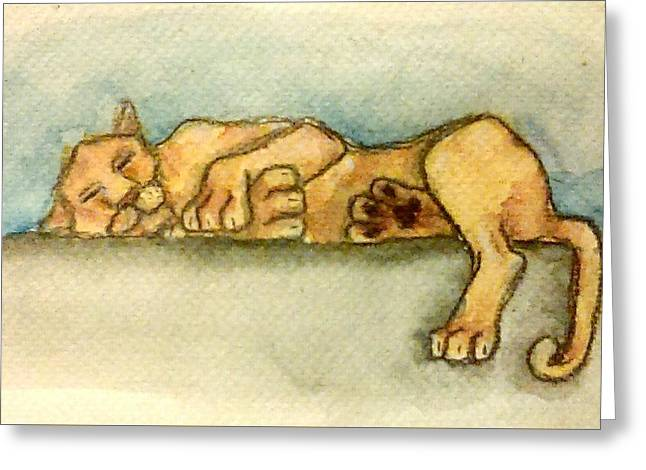 Cat Map Greeting Cards - Sleepy Lion Greeting Card by Jennie Hallbrown