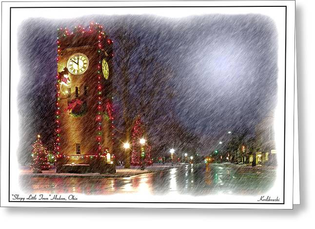 Clocktower Greeting Cards - Sleepy Little Town Greeting Card by Kenneth Krolikowski