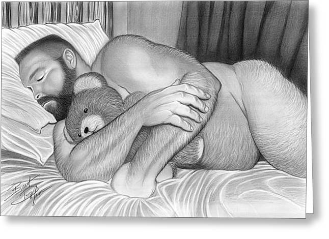 Erotic Male Drawings Greeting Cards - Sleepy Time For Teddy Greeting Card by Brent  Marr