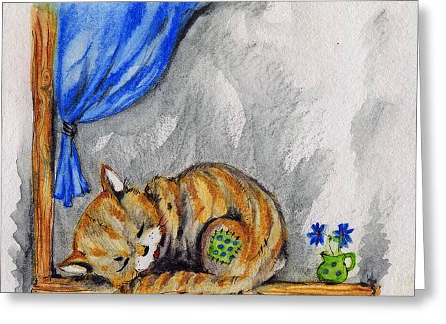 Cat Drawings Greeting Cards - Sleepyhead Greeting Card by Angel  Tarantella
