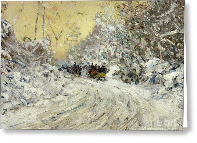 Sleigh Ride In Central Park Greeting Card by Childe Hassam