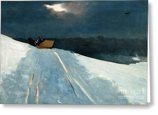Snowy Night Night Greeting Cards - Sleigh Ride Greeting Card by Winslow Homer