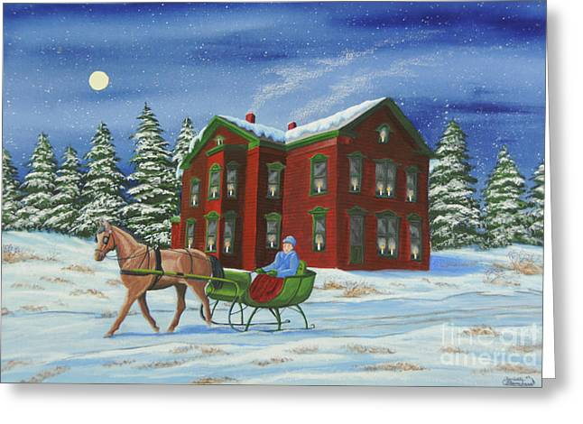 Winter Night Greeting Cards - Sleigh Ride With A Full Moon Greeting Card by Charlotte Blanchard