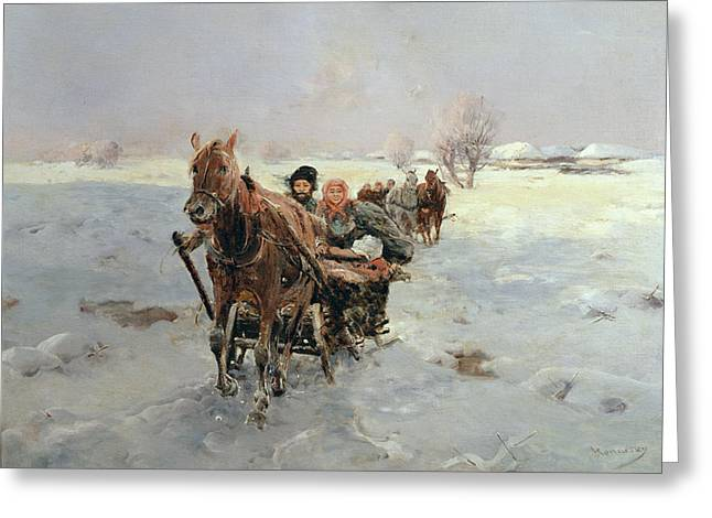 Winter Travel Greeting Cards - Sleighs in a Winter Landscape Greeting Card by Janina Konarsky