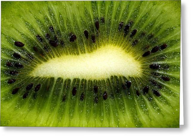 Slice Of Juicy Green Kiwi Fruit Greeting Card by Tracie Kaska