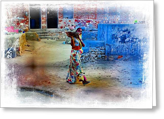 Candid Family Portraits Greeting Cards - Slice of Life Garbage Disposal Indian Village Rajasthani 1 Greeting Card by Sue Jacobi