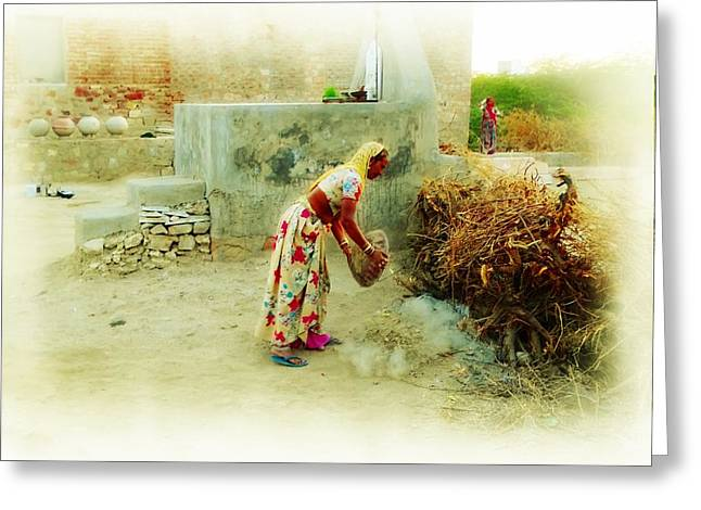 Candid Family Portraits Greeting Cards - Slice of Life Garbage Disposal Indian Village Rajasthani 2a Greeting Card by Sue Jacobi