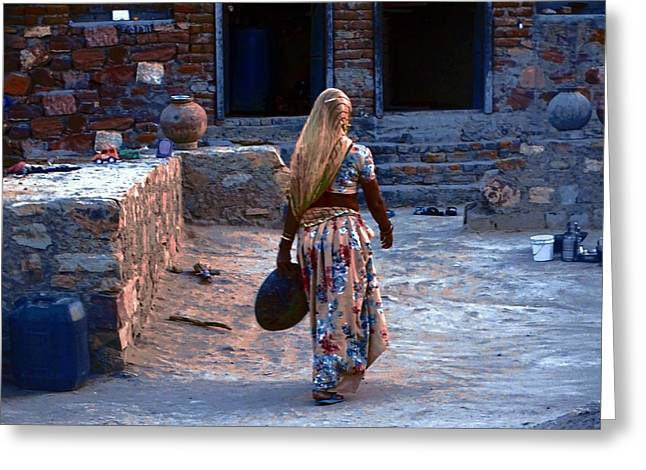 Candid Family Portraits Greeting Cards - Slice of Life Garbage Disposal Indian Village Rajasthani 3a Greeting Card by Sue Jacobi