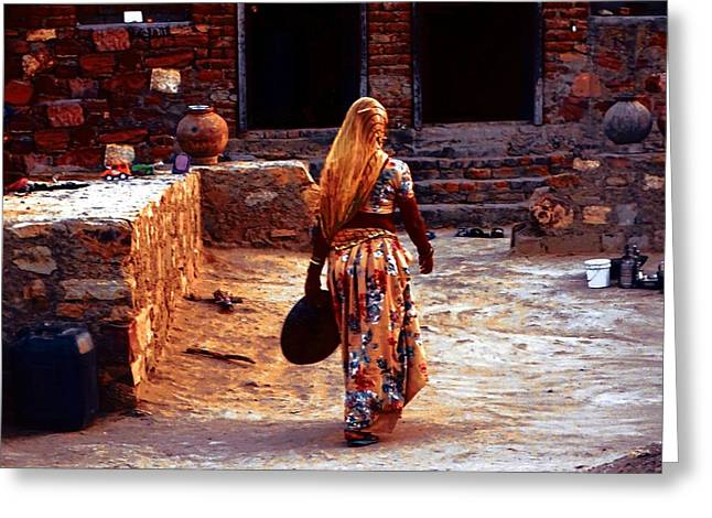 Candid Family Portraits Greeting Cards - Slice of Life Garbage Disposal Indian Village Rajasthani 3b Greeting Card by Sue Jacobi
